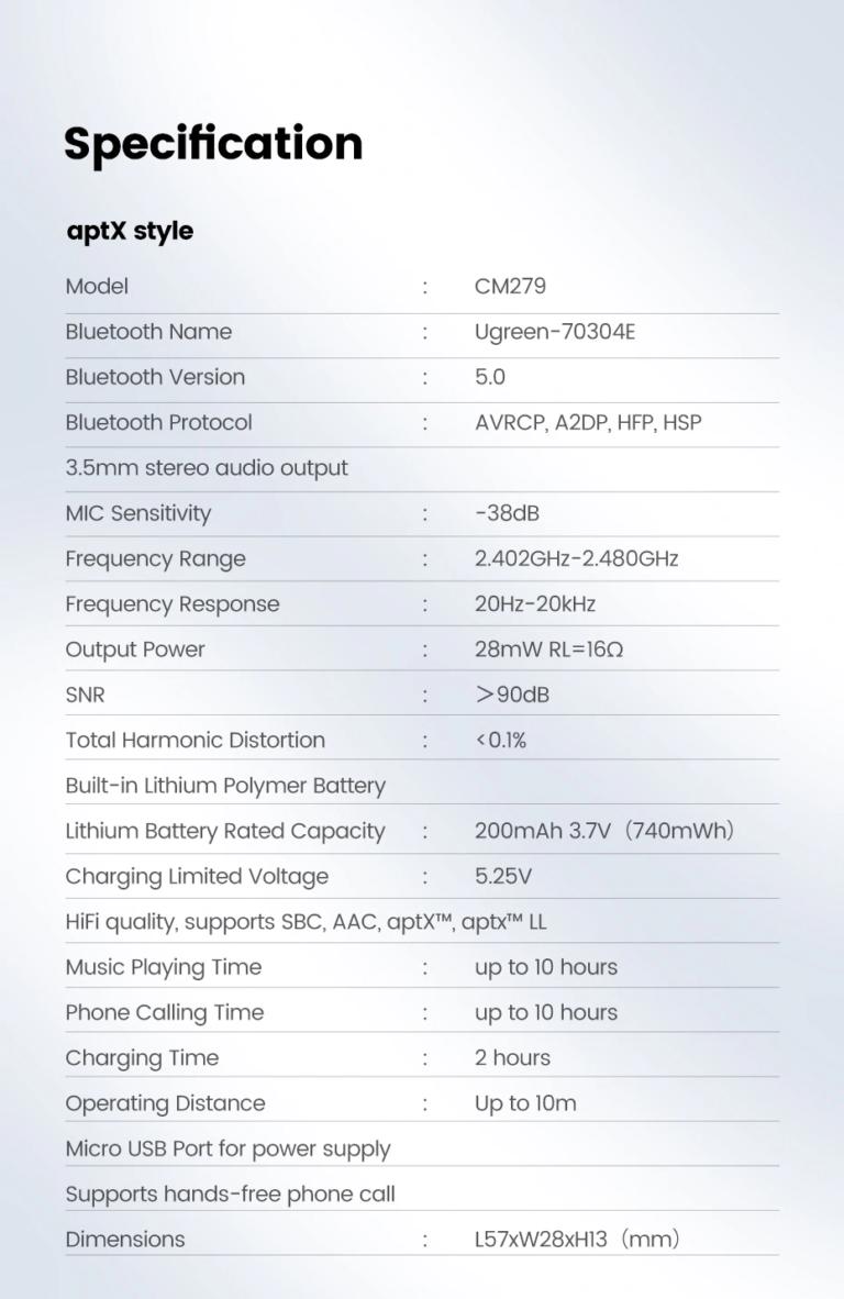 Audio Bluetooth Receiver Ugreen 70304 Kamstore.com.ua (6)