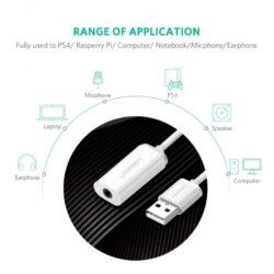 Внешняя звуковая карта USB 2 в 1 AUX Ugreen 30712.10