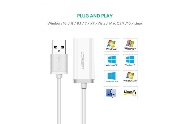 Внешняя звуковая карта USB 2 в 1 AUX Ugreen 30712.9