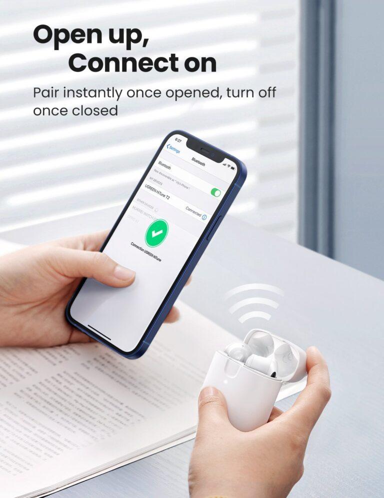 Беспроводные наушники TWS стерео HiFi ENC Bluetooth 5.0 UGREEN 80651 HiTune T2 (WS105) Kamstore.com.ua (4)