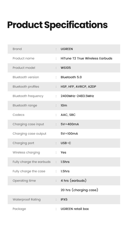 Беспроводные наушники TWS стерео HiFi ENC Bluetooth 5.0 UGREEN 80651 HiTune T2 (WS105) Kamstore.com.ua (9)