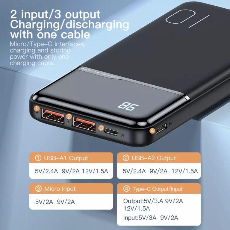 Power Bank Quick Charge 18W PD с LED индикацией KUULAA KL-YD01Q 10000 мАч Black Kamstore.com.ua (1)