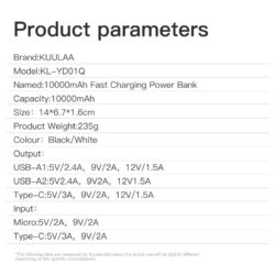 Power Bank Quick Charge 18W PD с LED индикацией KUULAA KL-YD01Q 10000 мАч Black Kamstore.com.ua (5)